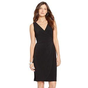 Black Faux Wrap Sleeveless Dress